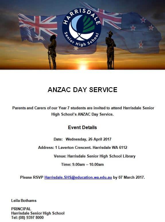 ANZAC Day Service Invitation (Parents)