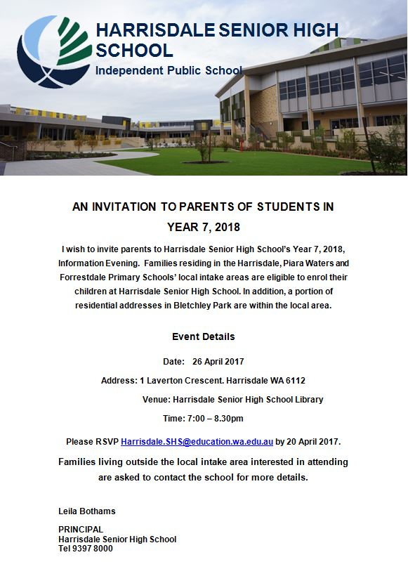 Invitation to Year 7 2018 Parent Information Evening