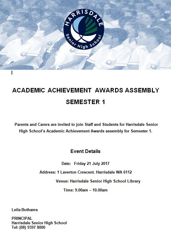 Invitation (Parents) Academic Awards Assembly Semester 1