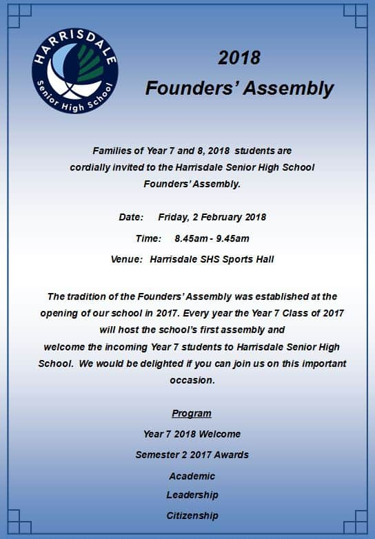 Founders Assembly Invitation