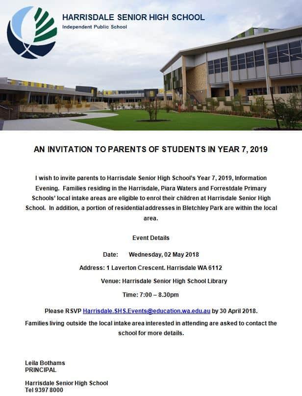Year 7 2019 Parent Information Evening Invitation