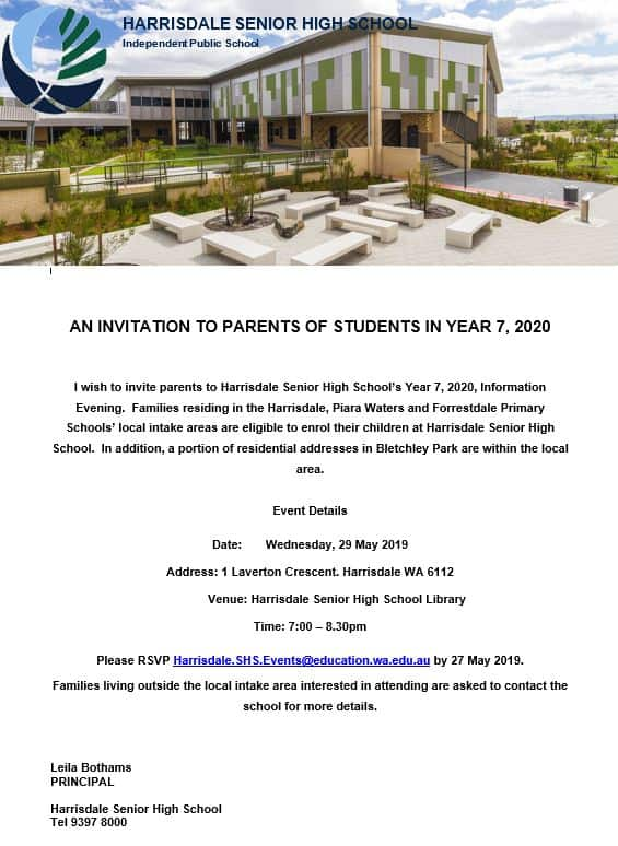 Year 7 2020 Parent Information Evening Invitation